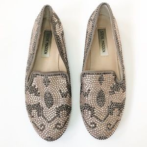 Steve Madden Pink And Grey Crystal Loafers 7